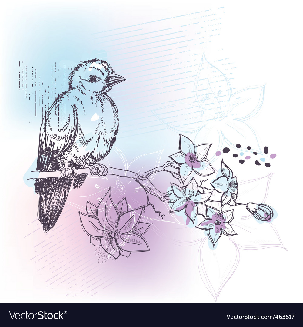 Bird and jasmine branch vector | Price: 1 Credit (USD $1)