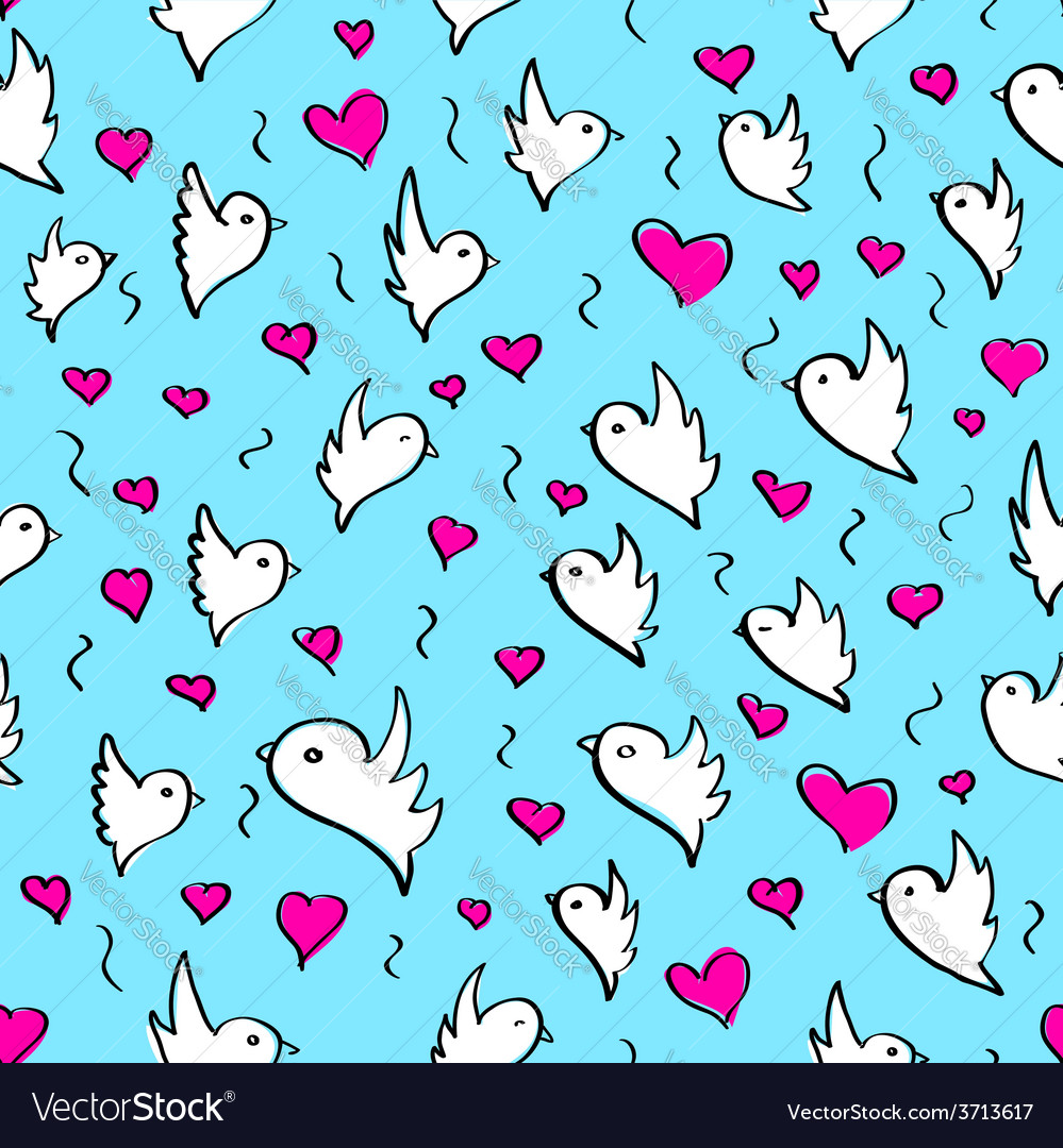 Birds heart fly group element sketch seamless vector | Price: 1 Credit (USD $1)