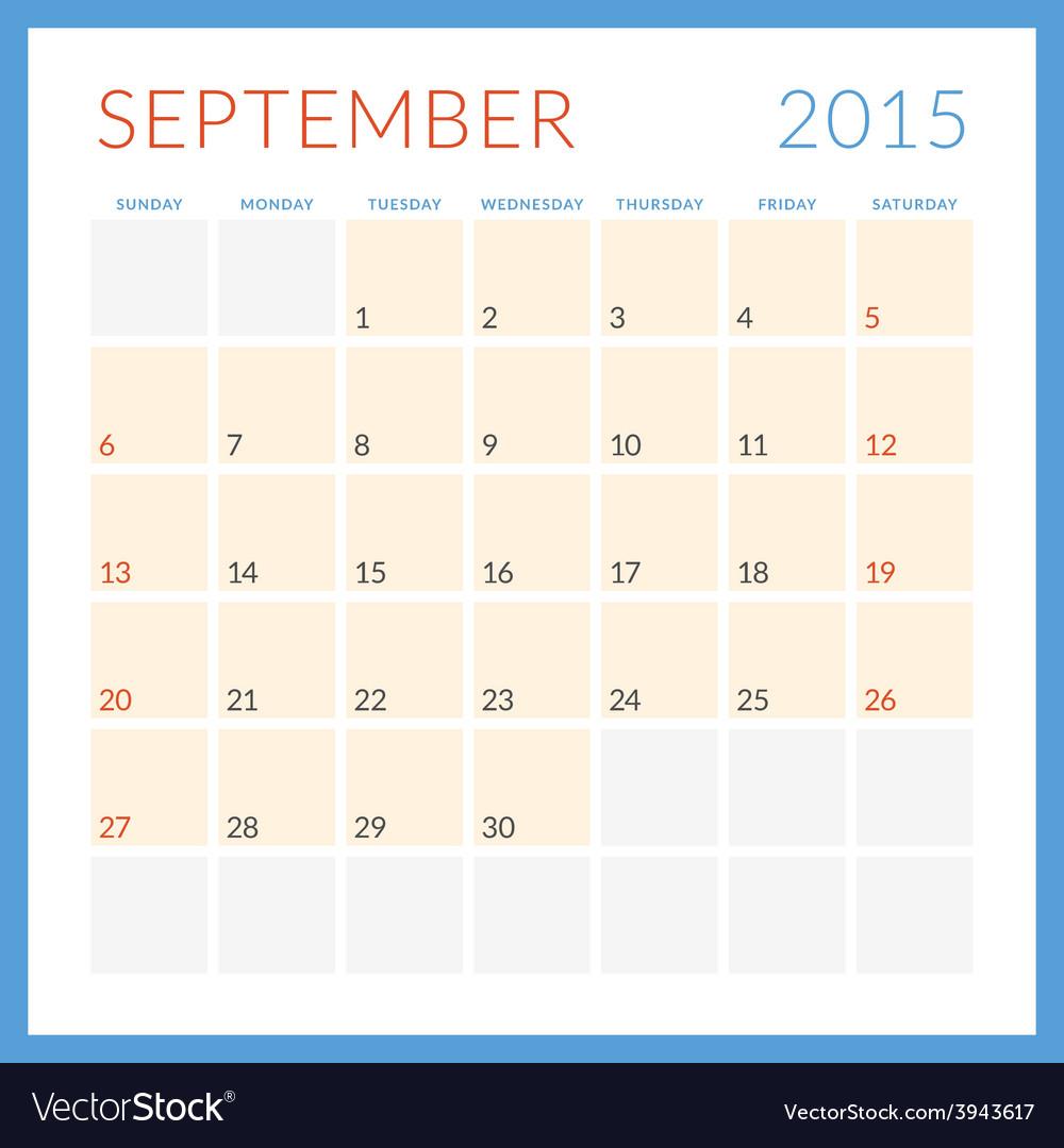 Calendar 2015 flat design template september week vector   Price: 1 Credit (USD $1)