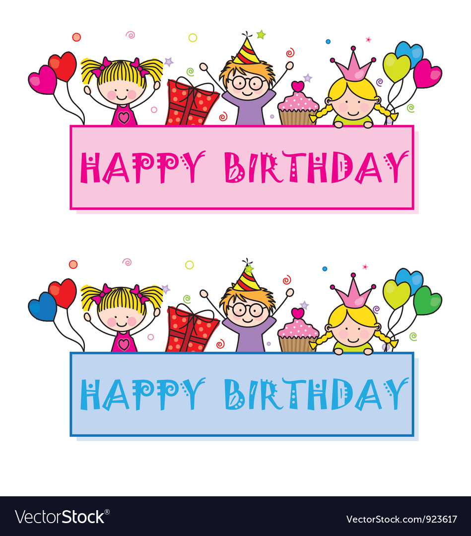 Children celebrating a birthday party vector | Price: 1 Credit (USD $1)