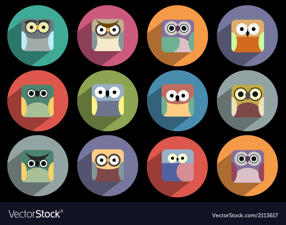 Flat icons of owls with long shadow effect vector | Price: 1 Credit (USD $1)