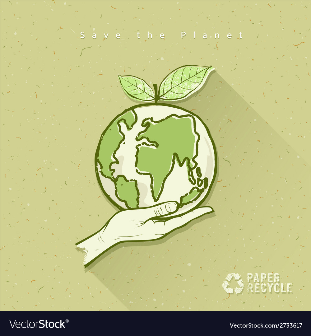Globe in hand save the earth concept design vector | Price: 1 Credit (USD $1)