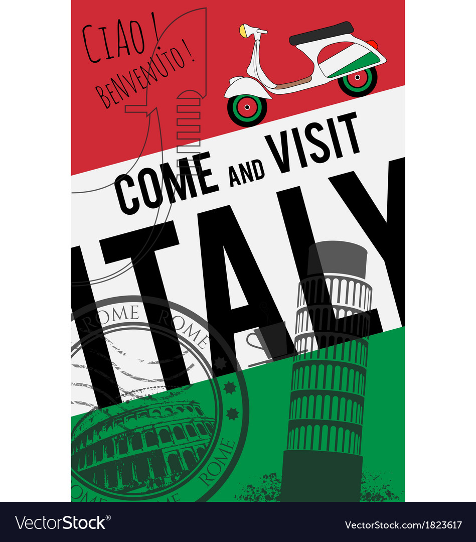 Italy travel invitation poster vector | Price: 1 Credit (USD $1)