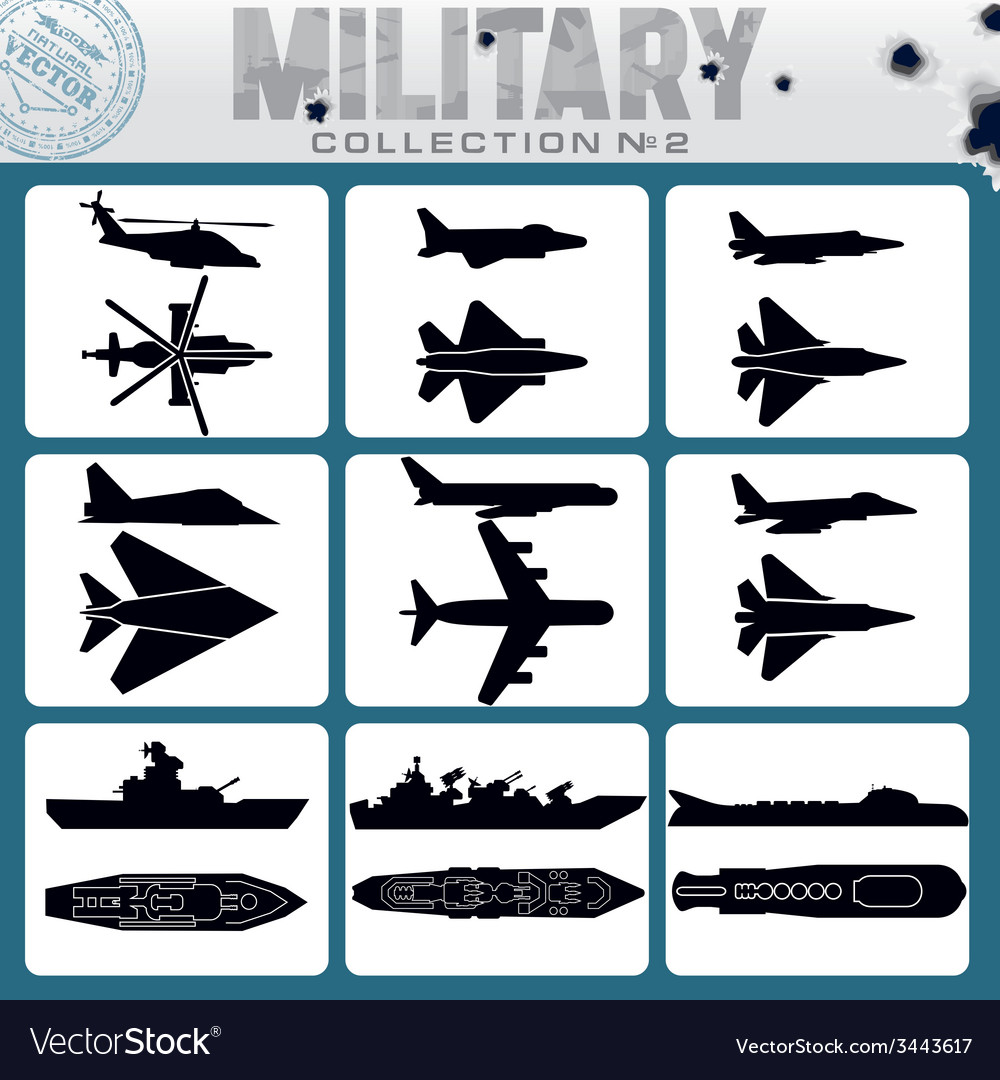 Military planes and warships vector | Price: 1 Credit (USD $1)