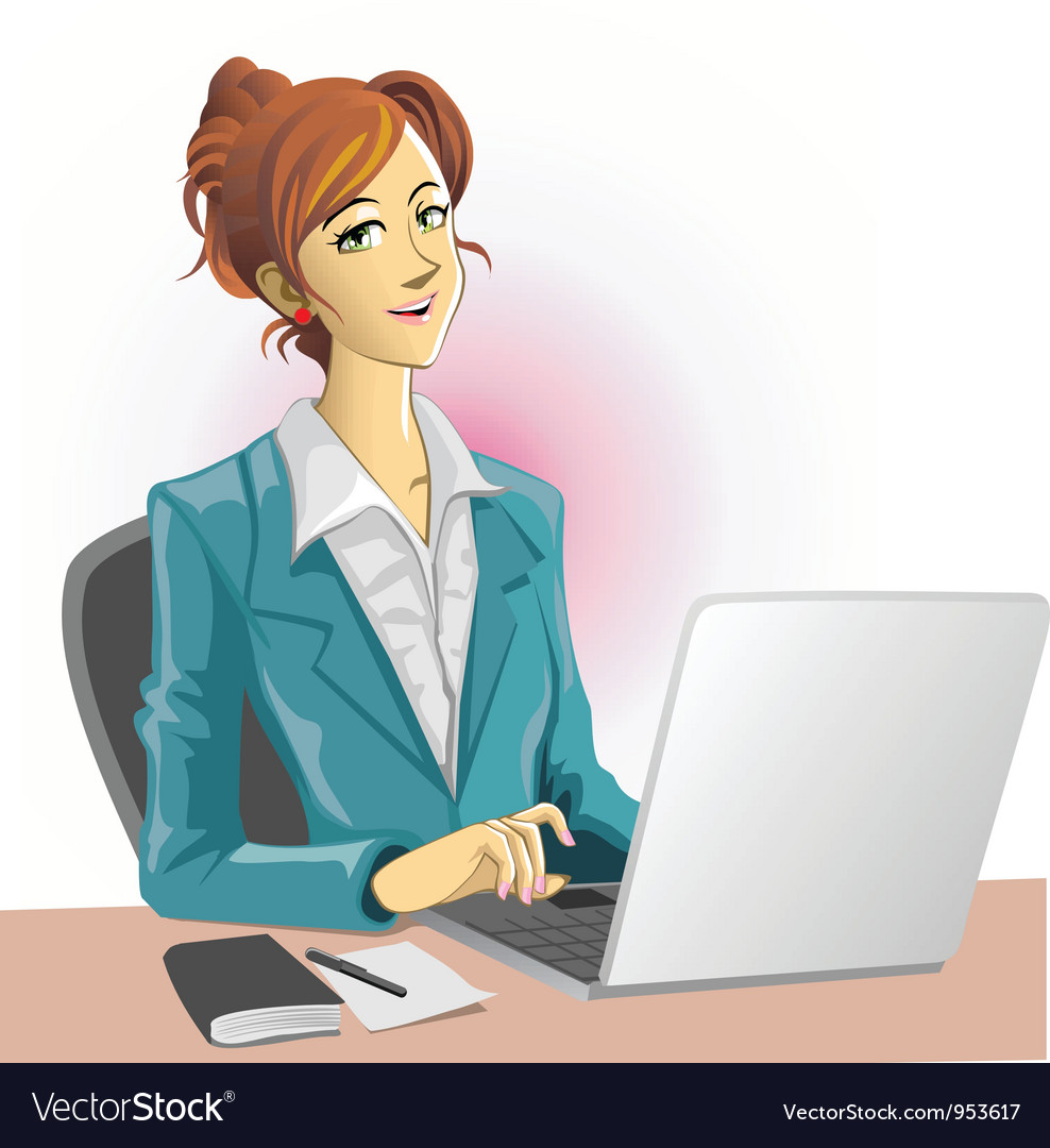 Office lady and notebook vector | Price: 3 Credit (USD $3)