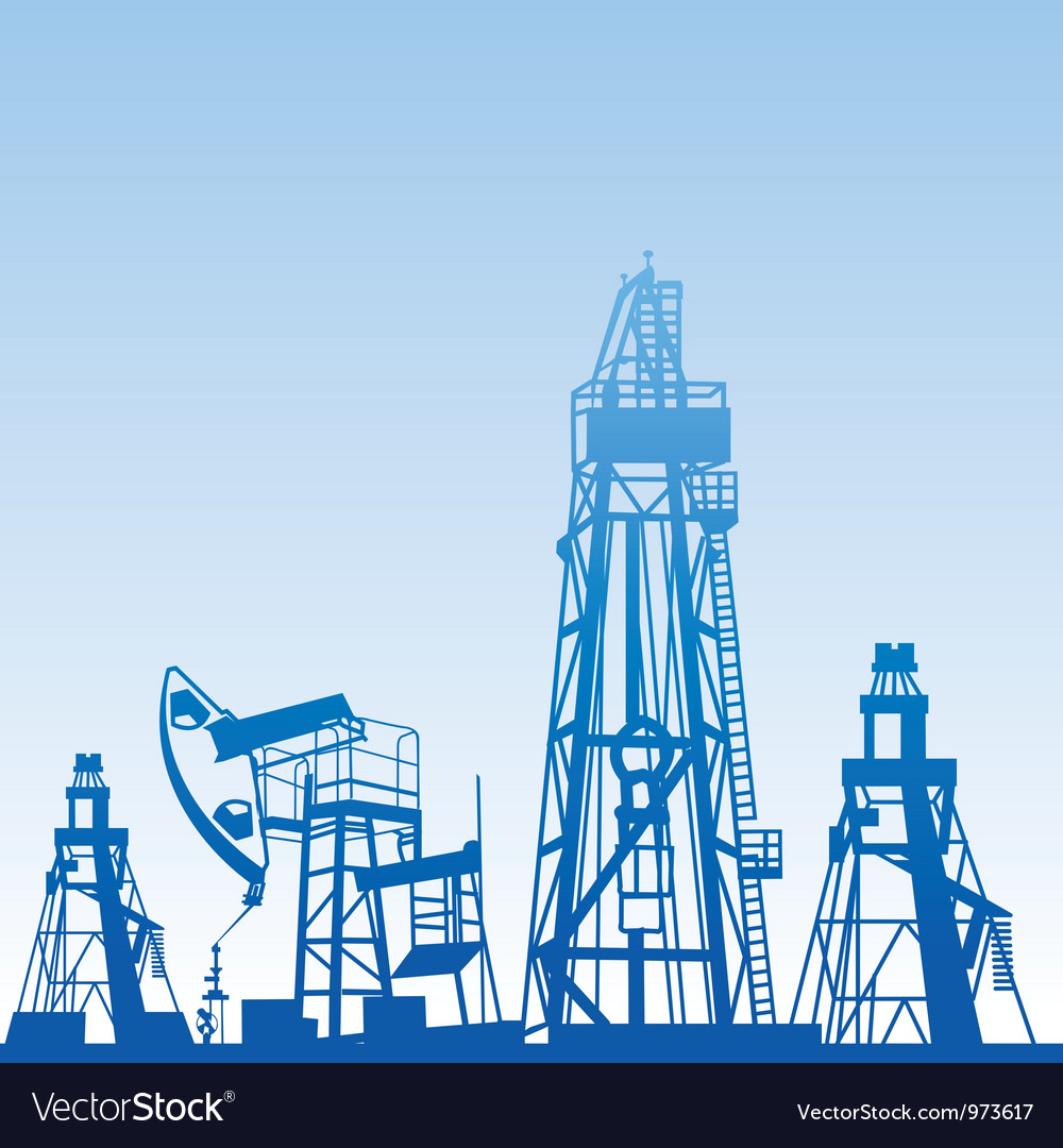 Oil rig silhouettes vector | Price: 1 Credit (USD $1)