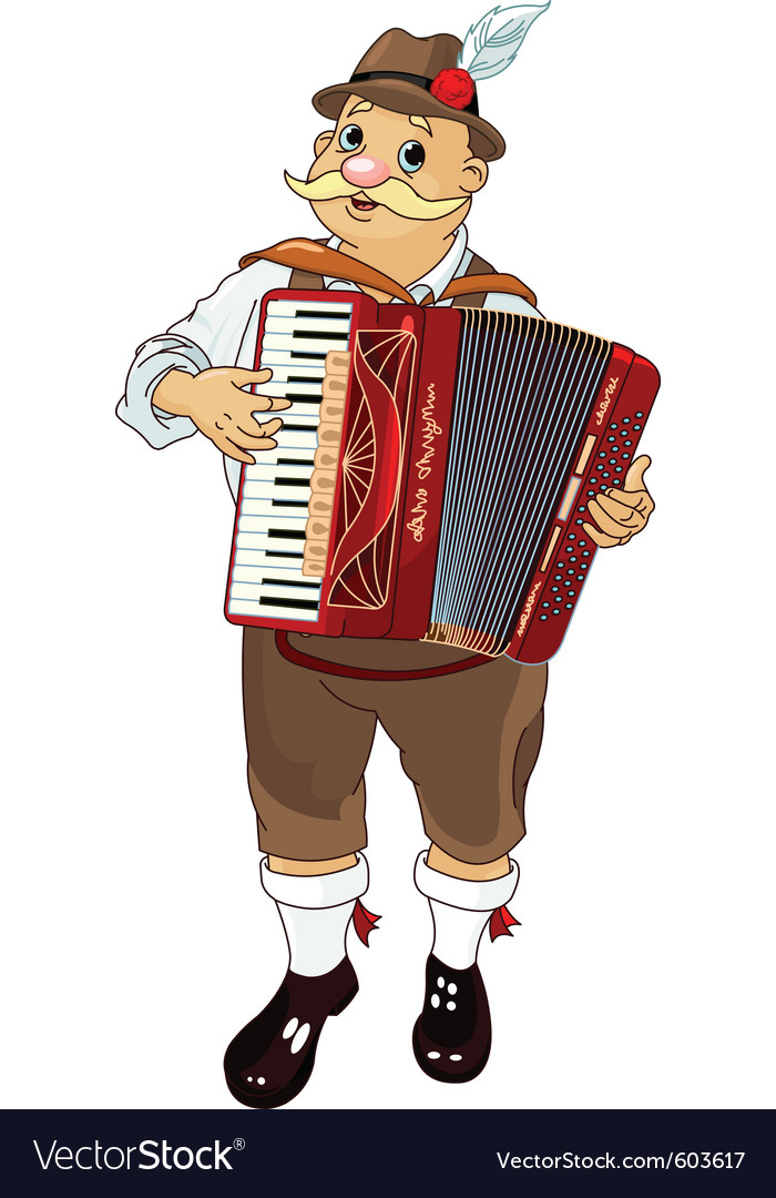 Oktoberfest germany musician playing accordion vector | Price: 3 Credit (USD $3)