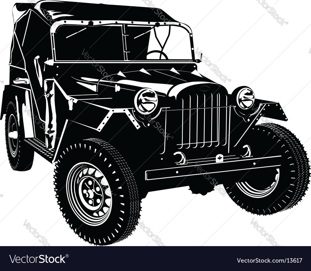Retro army car vector | Price: 1 Credit (USD $1)