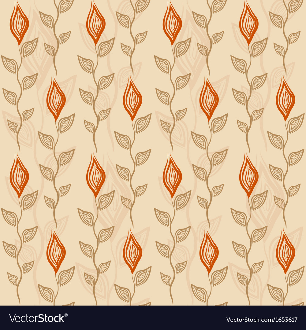 Seamless pattern with flower and leaves vector | Price: 1 Credit (USD $1)
