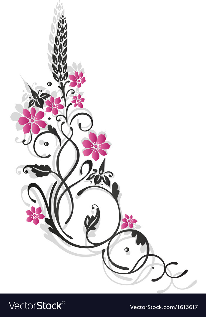 Tendril floral element vector | Price: 1 Credit (USD $1)