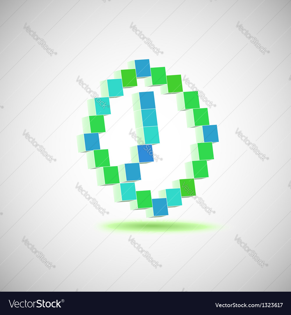 Three-dimensional shape  pixel style the clock vector | Price: 1 Credit (USD $1)