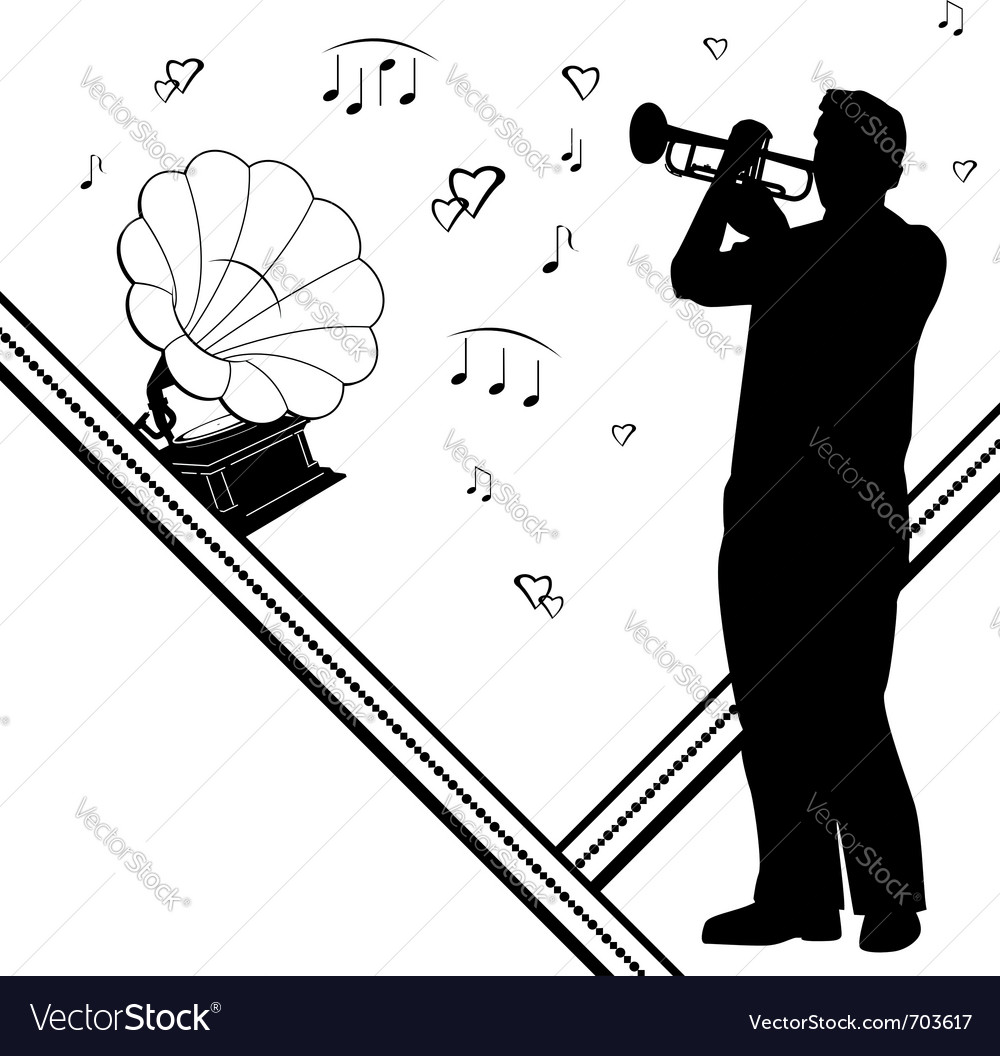 Trumpeter gramophone vector | Price: 1 Credit (USD $1)