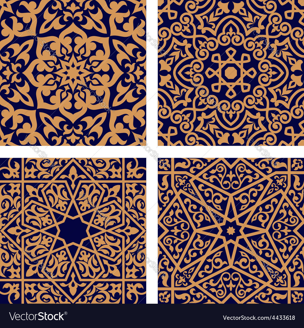 Arabic geometric seamless patterns with foliage vector | Price: 1 Credit (USD $1)