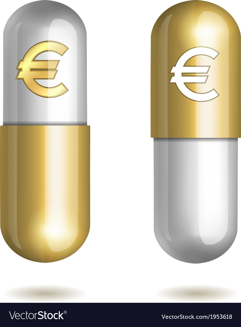 Capsule pills with euro signs vector | Price: 1 Credit (USD $1)