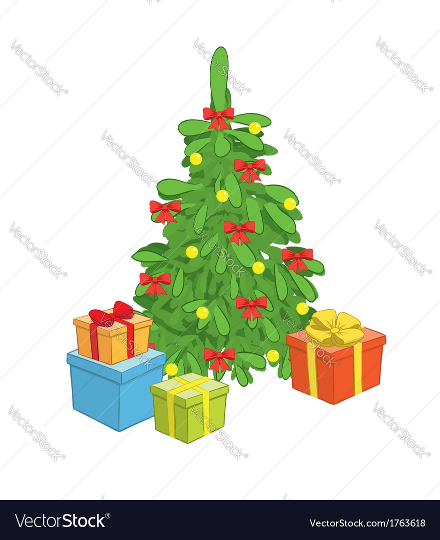 Christmas tree with gift boxes vector | Price: 1 Credit (USD $1)