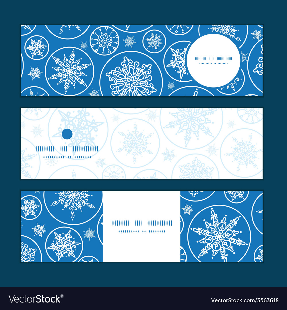 Falling snowflakes horizontal banners set pattern vector   Price: 1 Credit (USD $1)