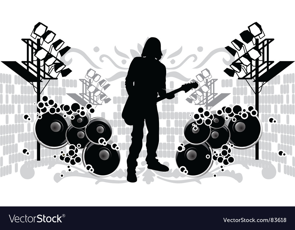 Guitarist silhouette vector | Price: 1 Credit (USD $1)