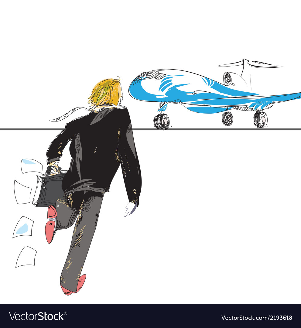 Man rushing to plane vector | Price: 1 Credit (USD $1)