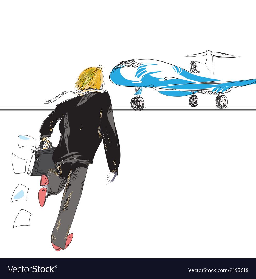 Man rushing to plane vector   Price: 1 Credit (USD $1)