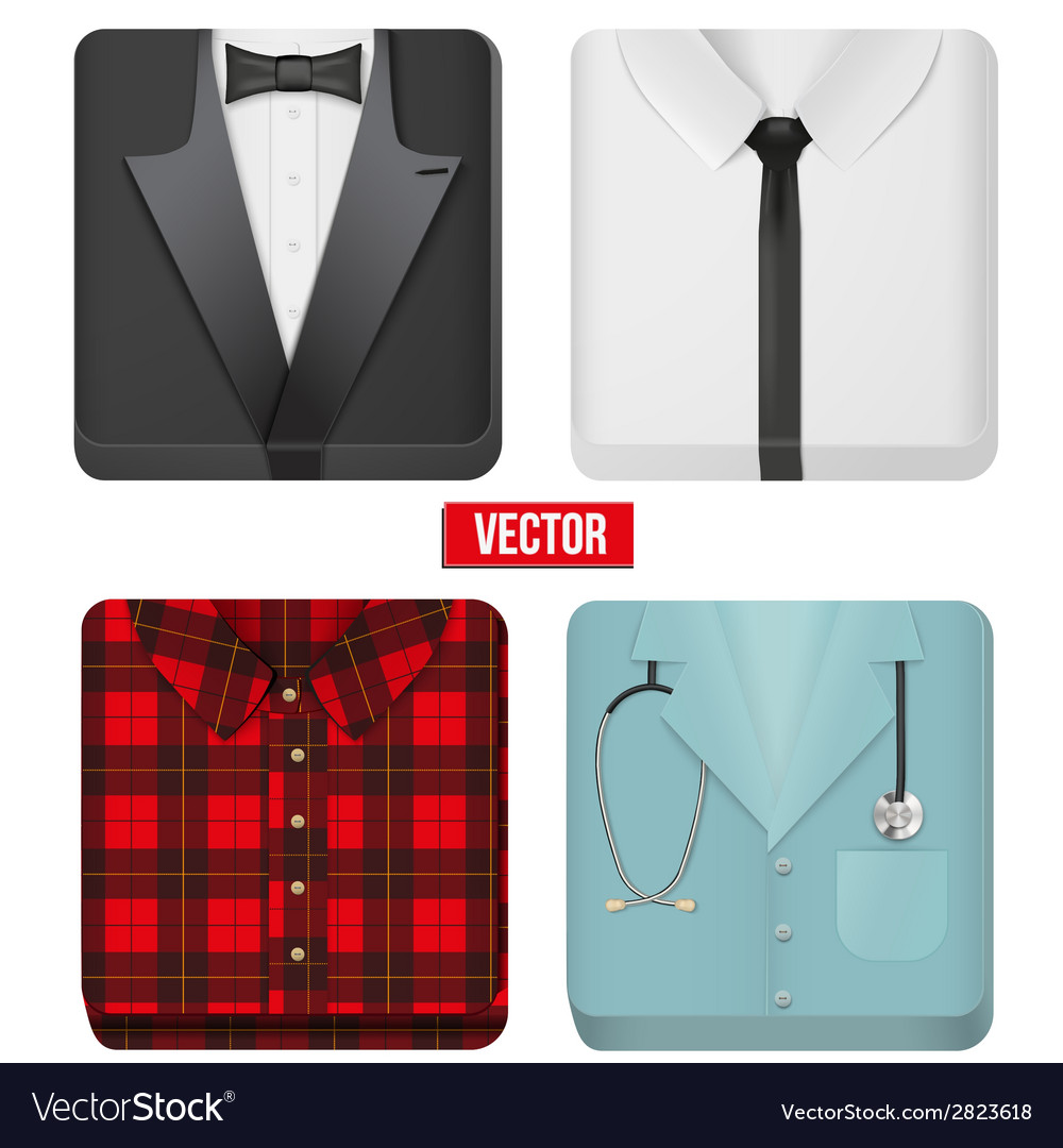 Premium icons white shirt tuxedo doctor and vector | Price: 1 Credit (USD $1)