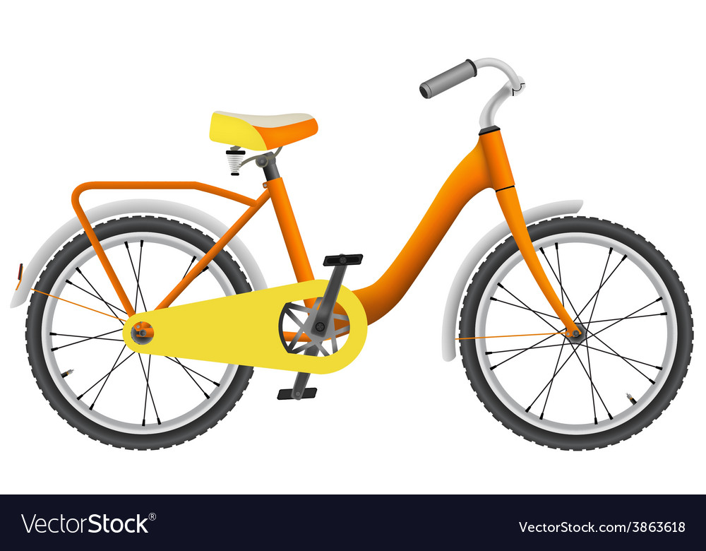 Realistic orange childrens bike for boys vector | Price: 1 Credit (USD $1)
