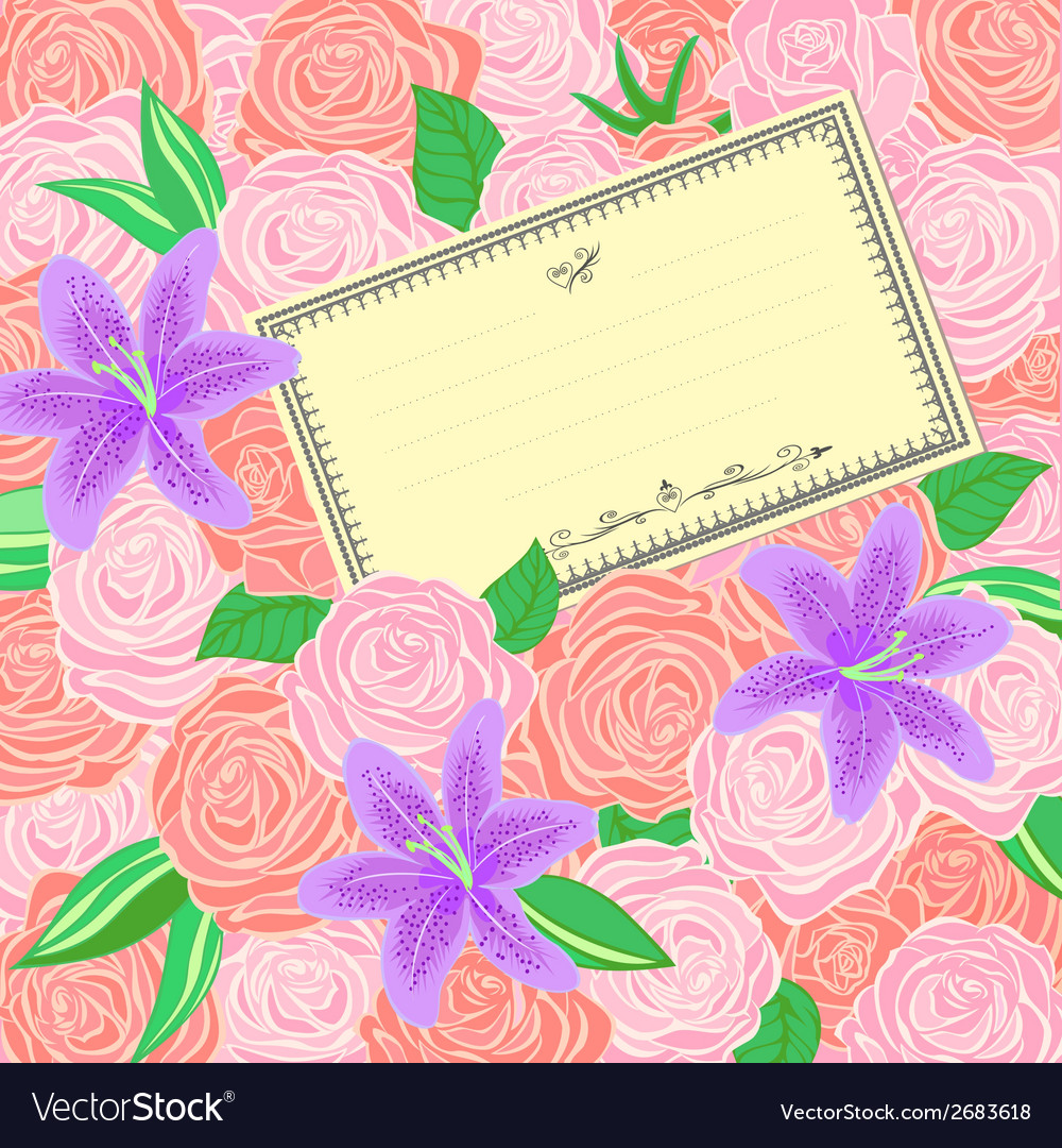 Roses and lilies background vector | Price: 1 Credit (USD $1)