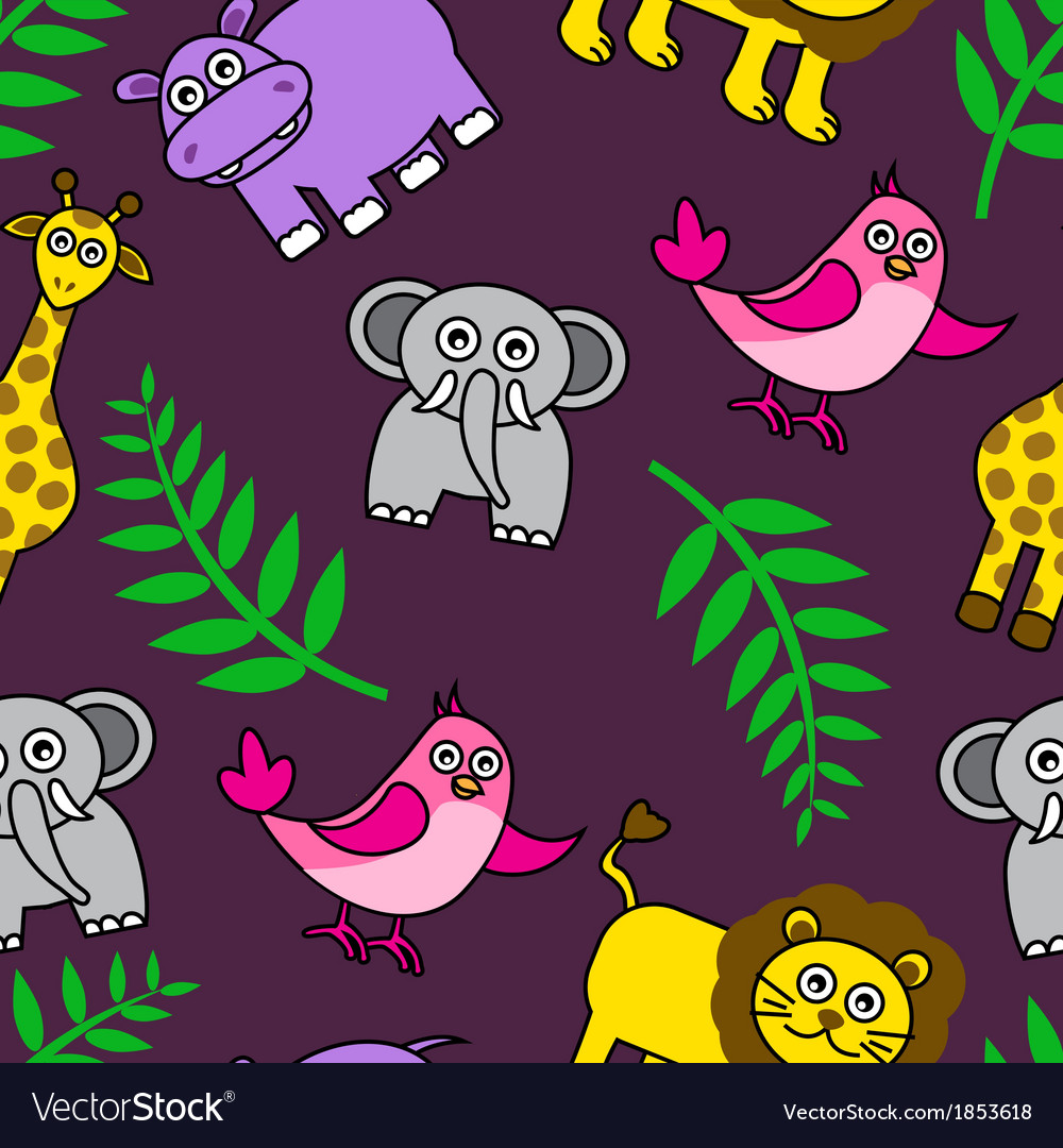Seamless background with cartoon animals and palm vector | Price: 1 Credit (USD $1)
