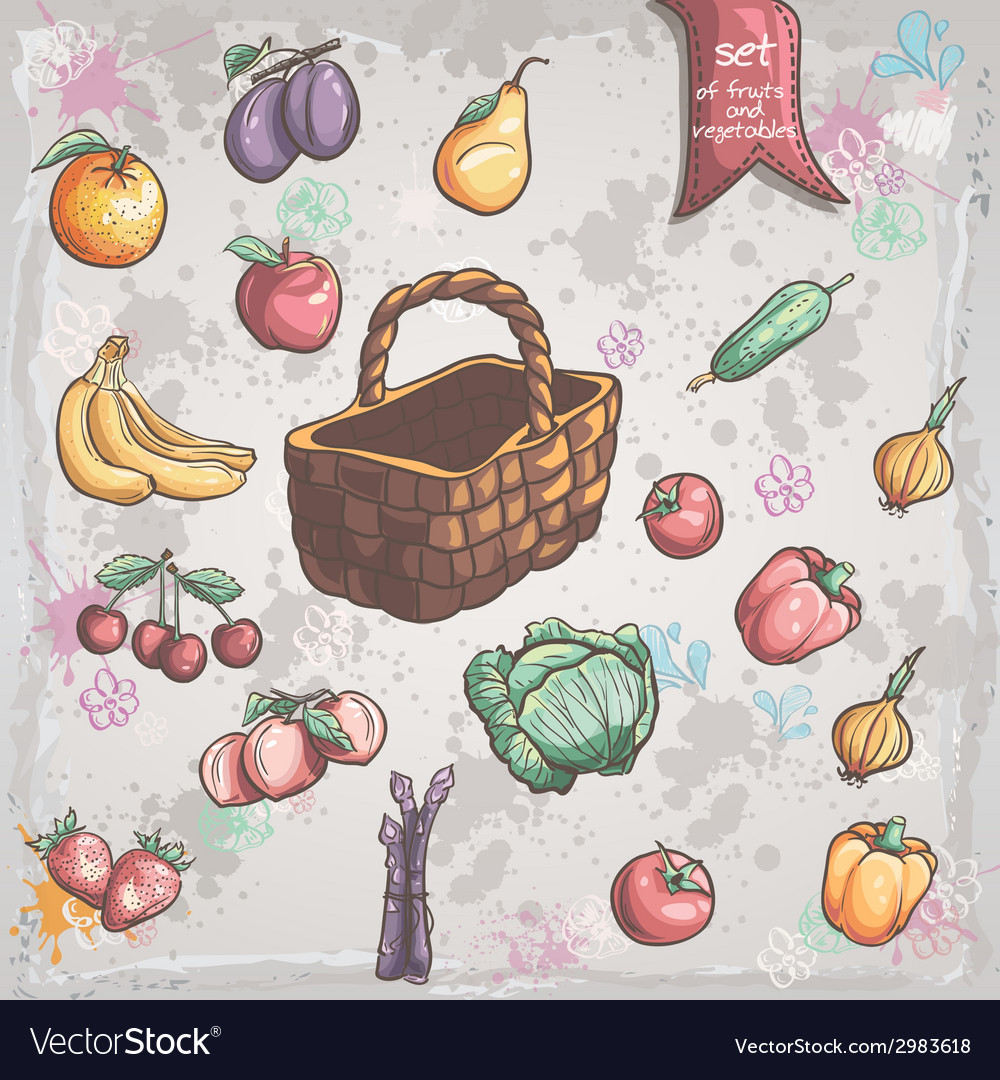 Set of vegetables and fruits with a wicker basket vector | Price: 1 Credit (USD $1)