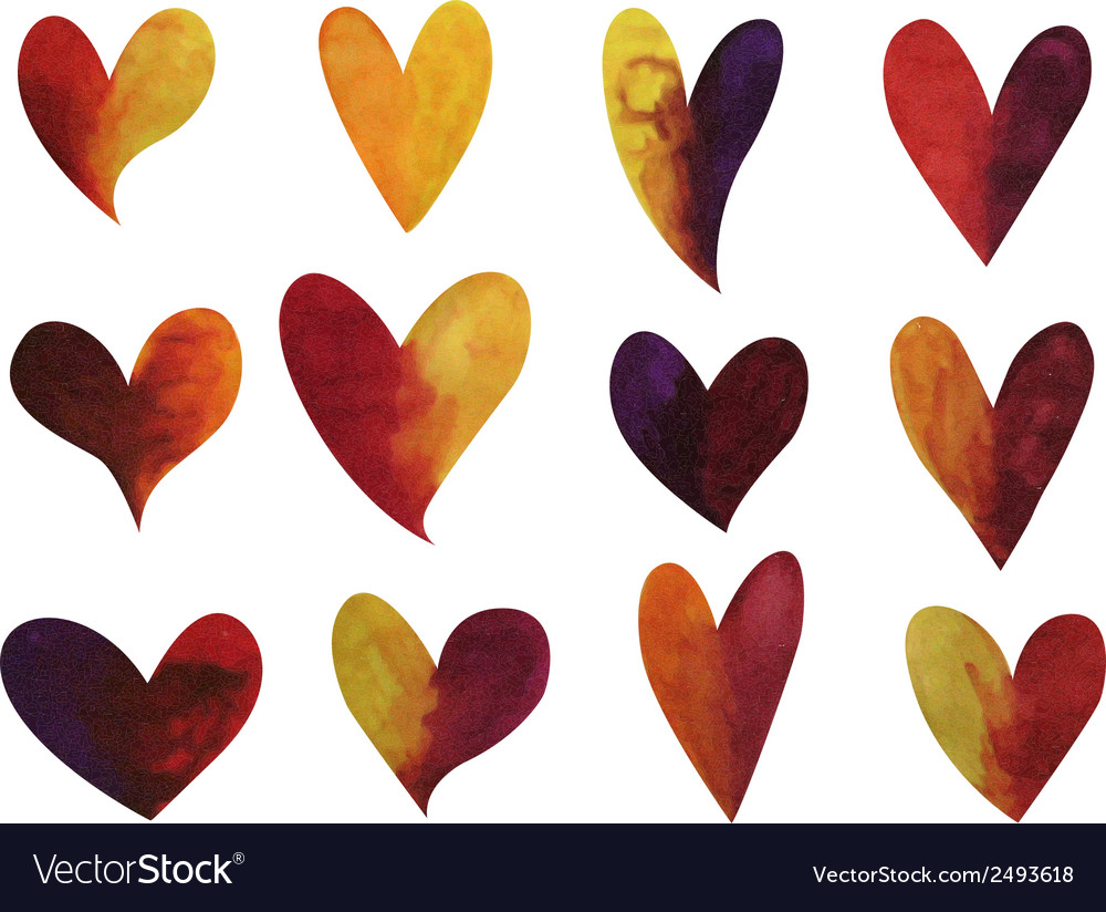 Set of watercolor gradient hearts vector | Price: 1 Credit (USD $1)