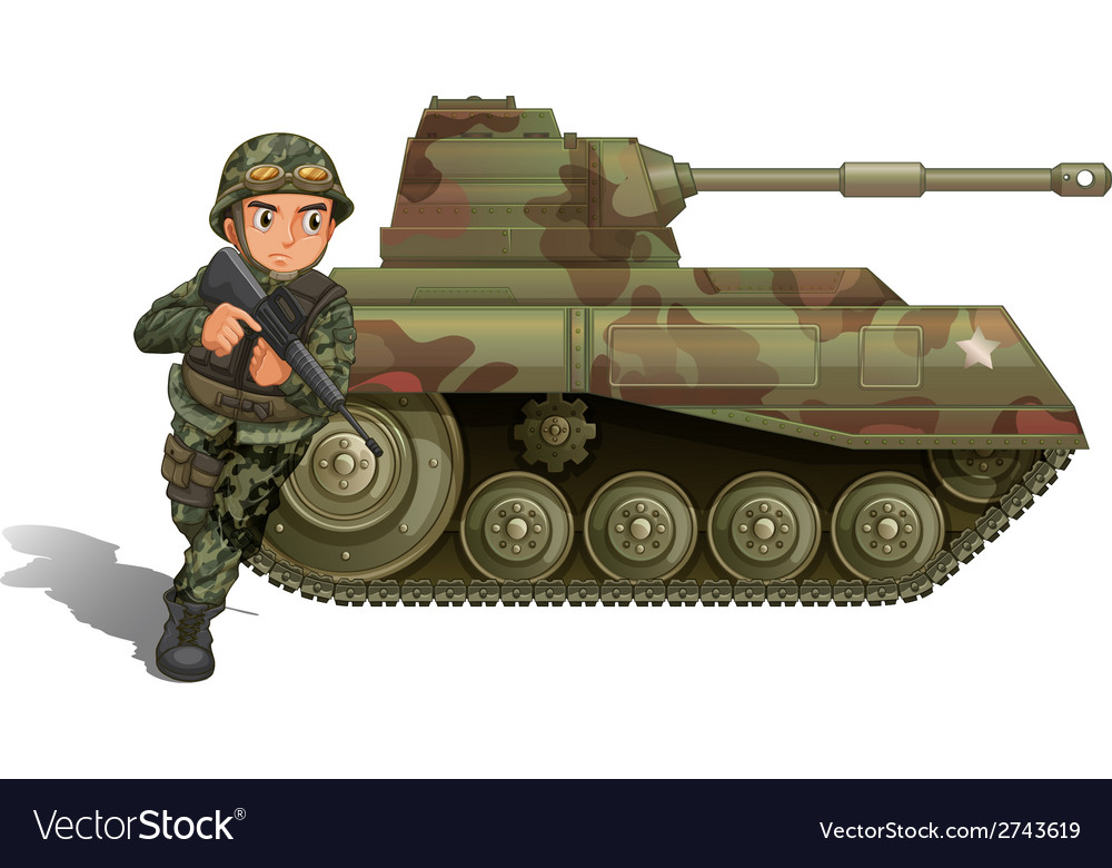 A soldier near the armour tank vector | Price: 1 Credit (USD $1)