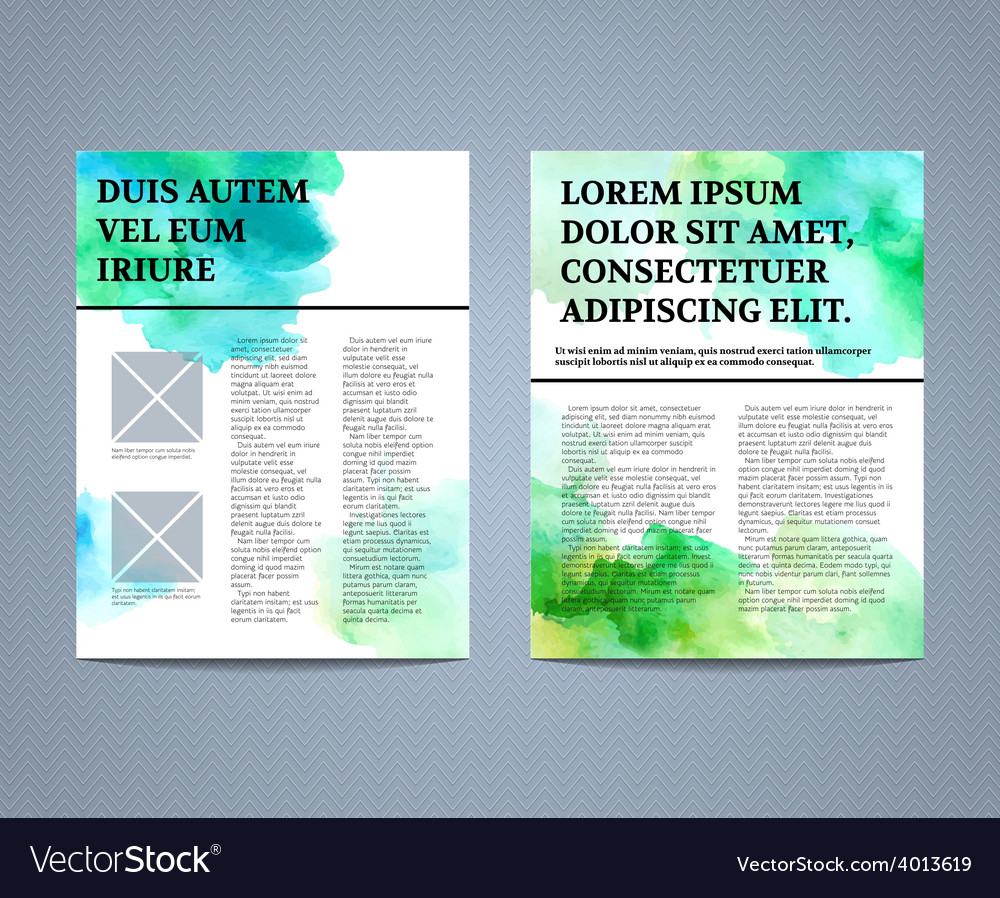 Abstract watercolour brochure flyer design vector | Price: 1 Credit (USD $1)