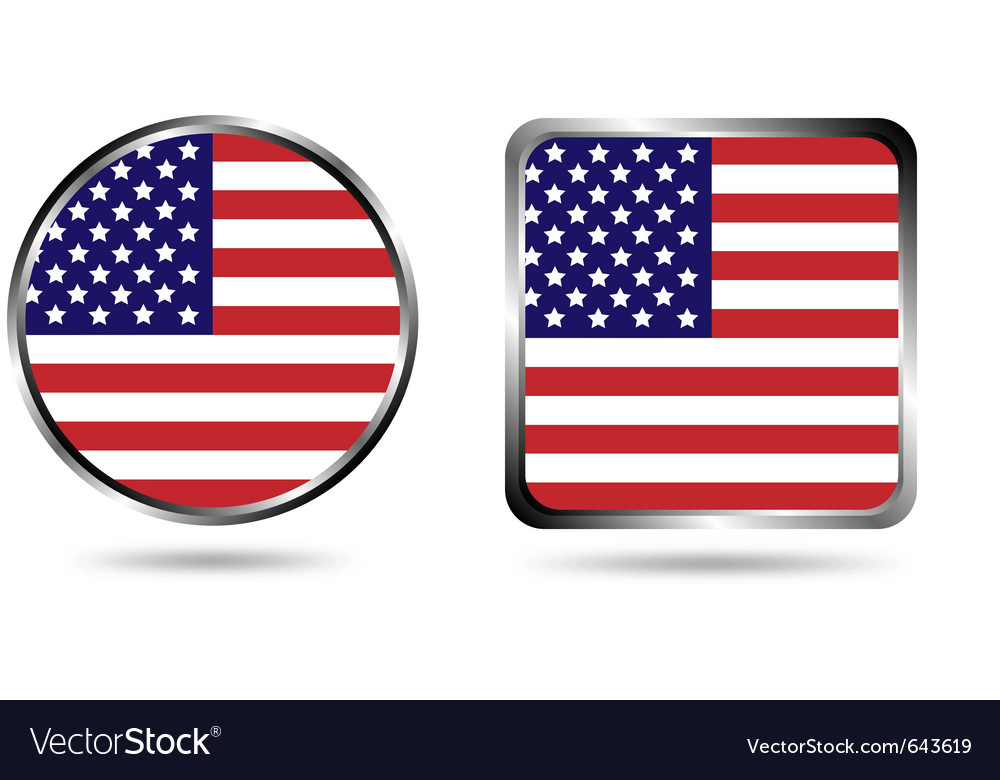 American flag buttons isolated on white vector | Price: 1 Credit (USD $1)