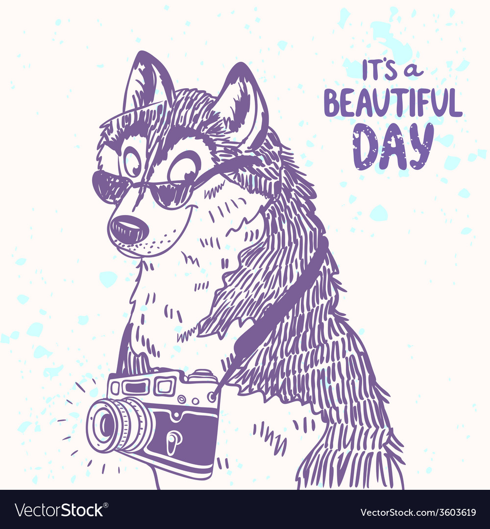 Dog with a camera vector | Price: 1 Credit (USD $1)