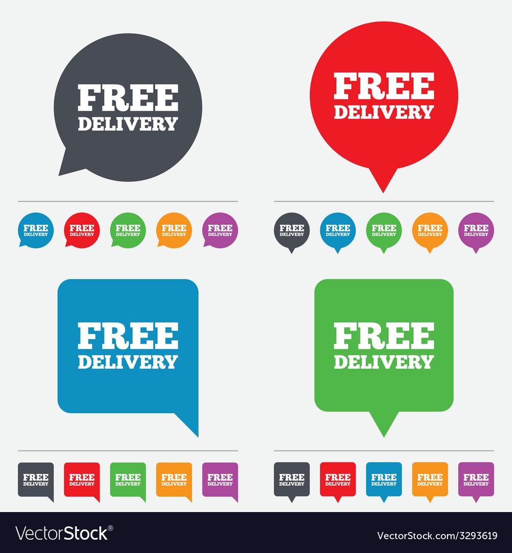 Free delivery sign icon delivery button vector | Price: 1 Credit (USD $1)