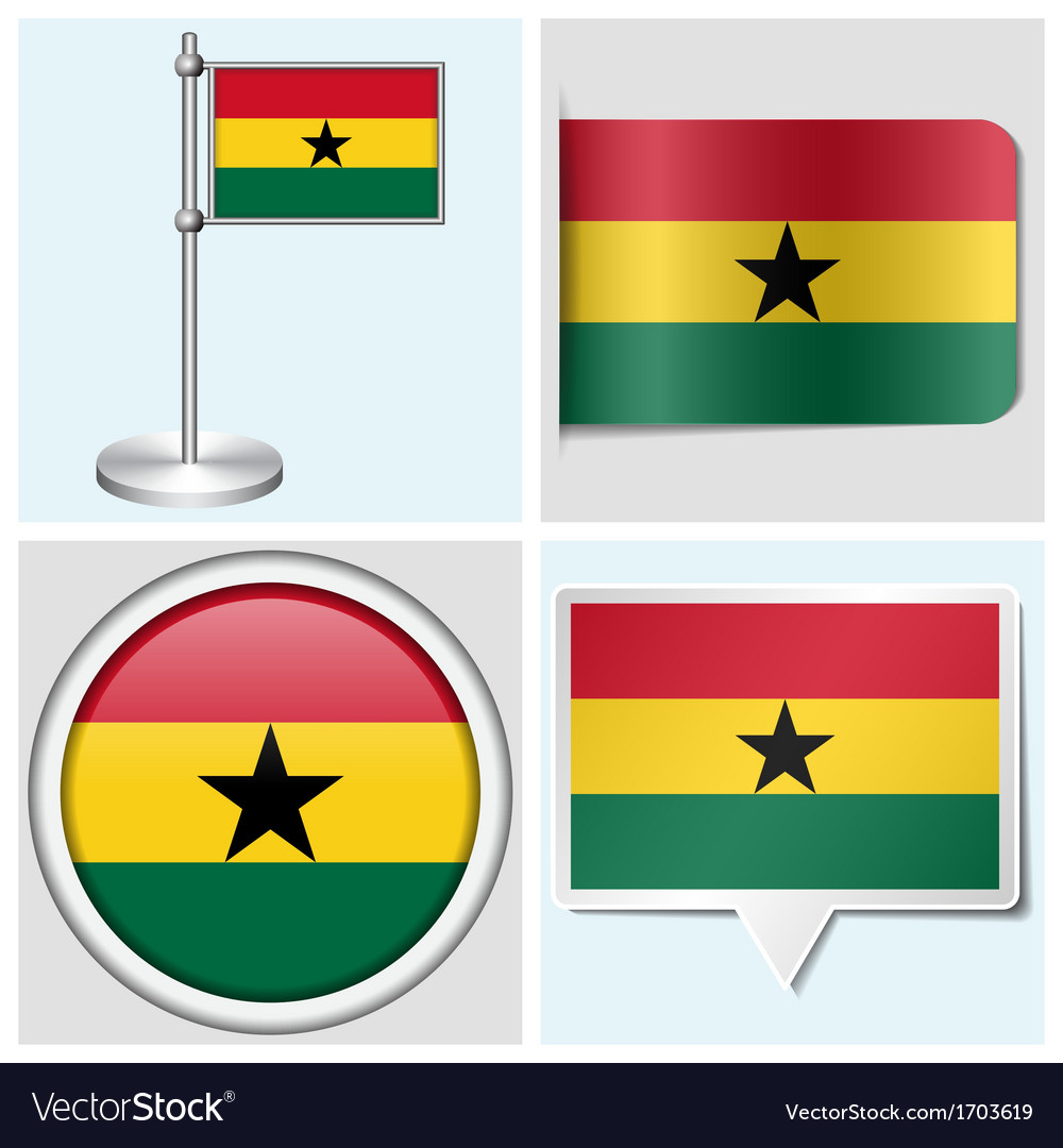 Ghana flag - sticker button label flagstaff vector | Price: 1 Credit (USD $1)