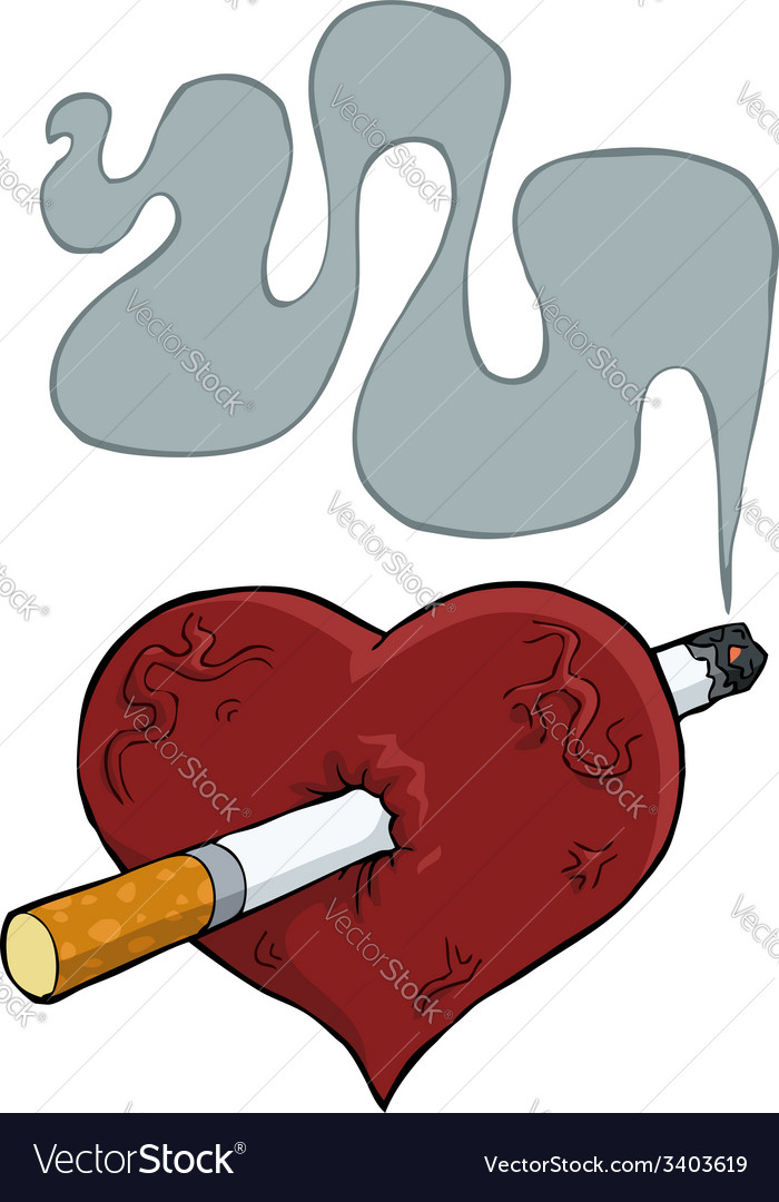 Heart with a cigarette vector | Price: 1 Credit (USD $1)
