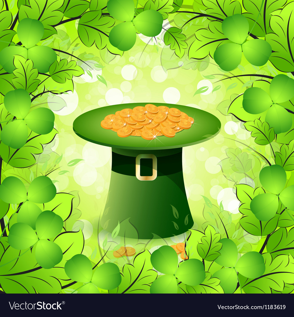 Patricks day card with leprechaun hat vector | Price: 1 Credit (USD $1)
