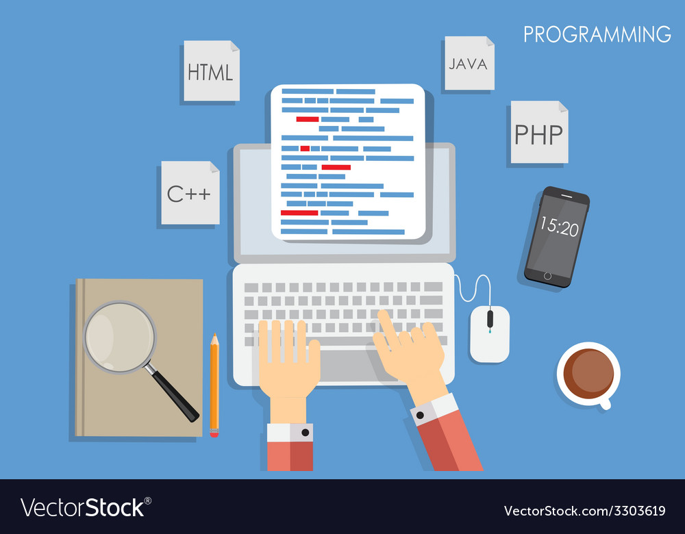 Programming coding flat concept vector | Price: 1 Credit (USD $1)