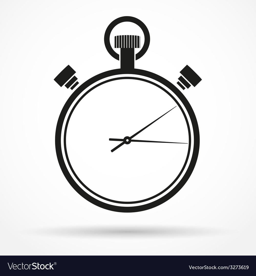 Silhouette simple symbol of stopwatch black icon vector | Price: 1 Credit (USD $1)