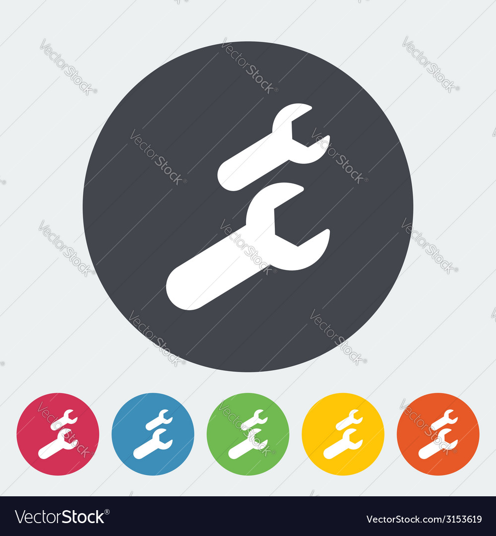 Wrench single flat icon vector | Price: 1 Credit (USD $1)
