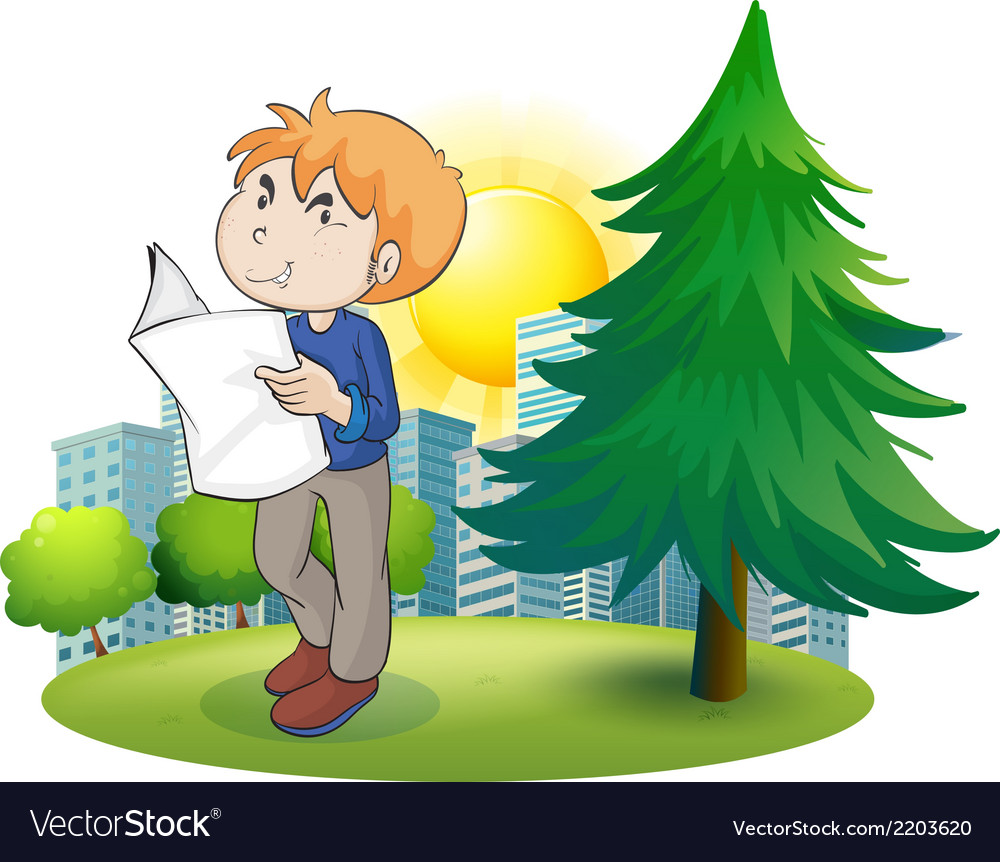 A man reading newspaper near the pine tree vector | Price: 1 Credit (USD $1)