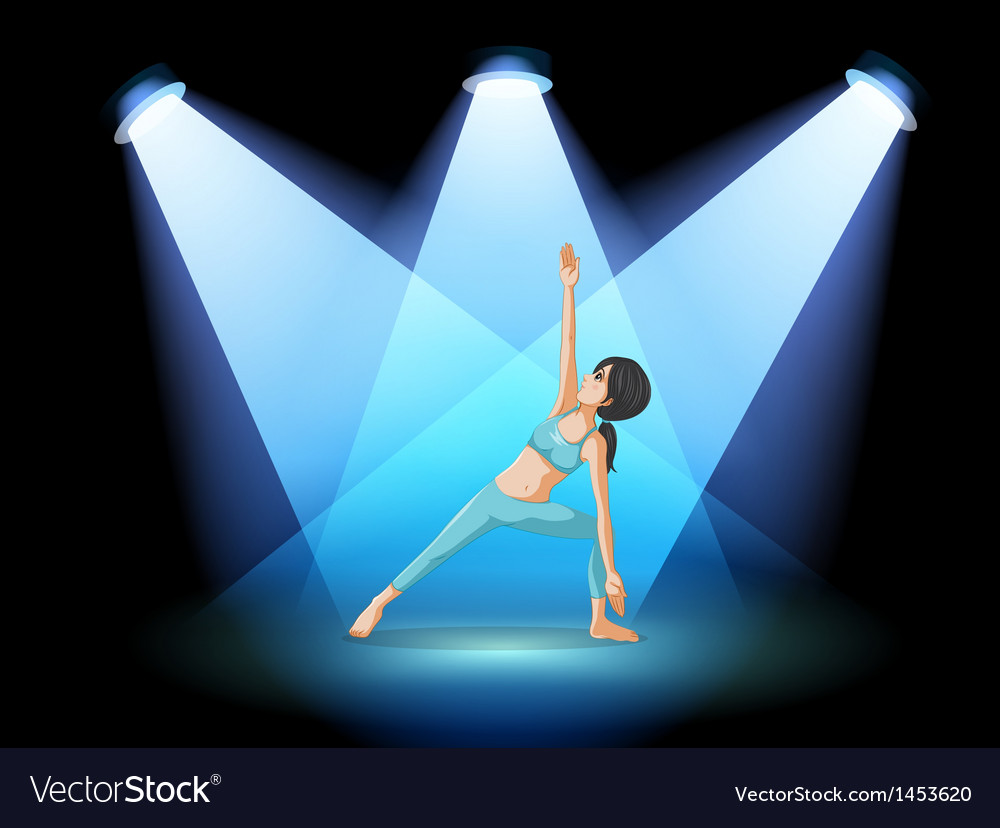 A stage with a girl performing yoga at the center vector | Price: 1 Credit (USD $1)