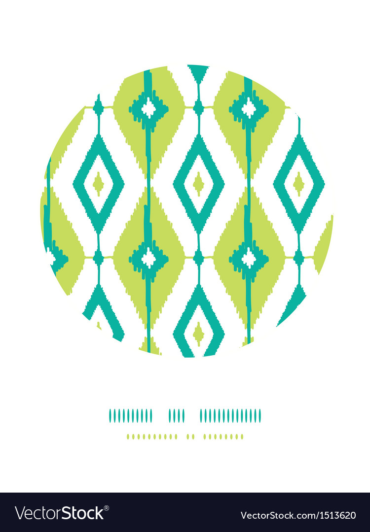 Emerald green ikat diamonds circle decor patterns vector | Price: 1 Credit (USD $1)