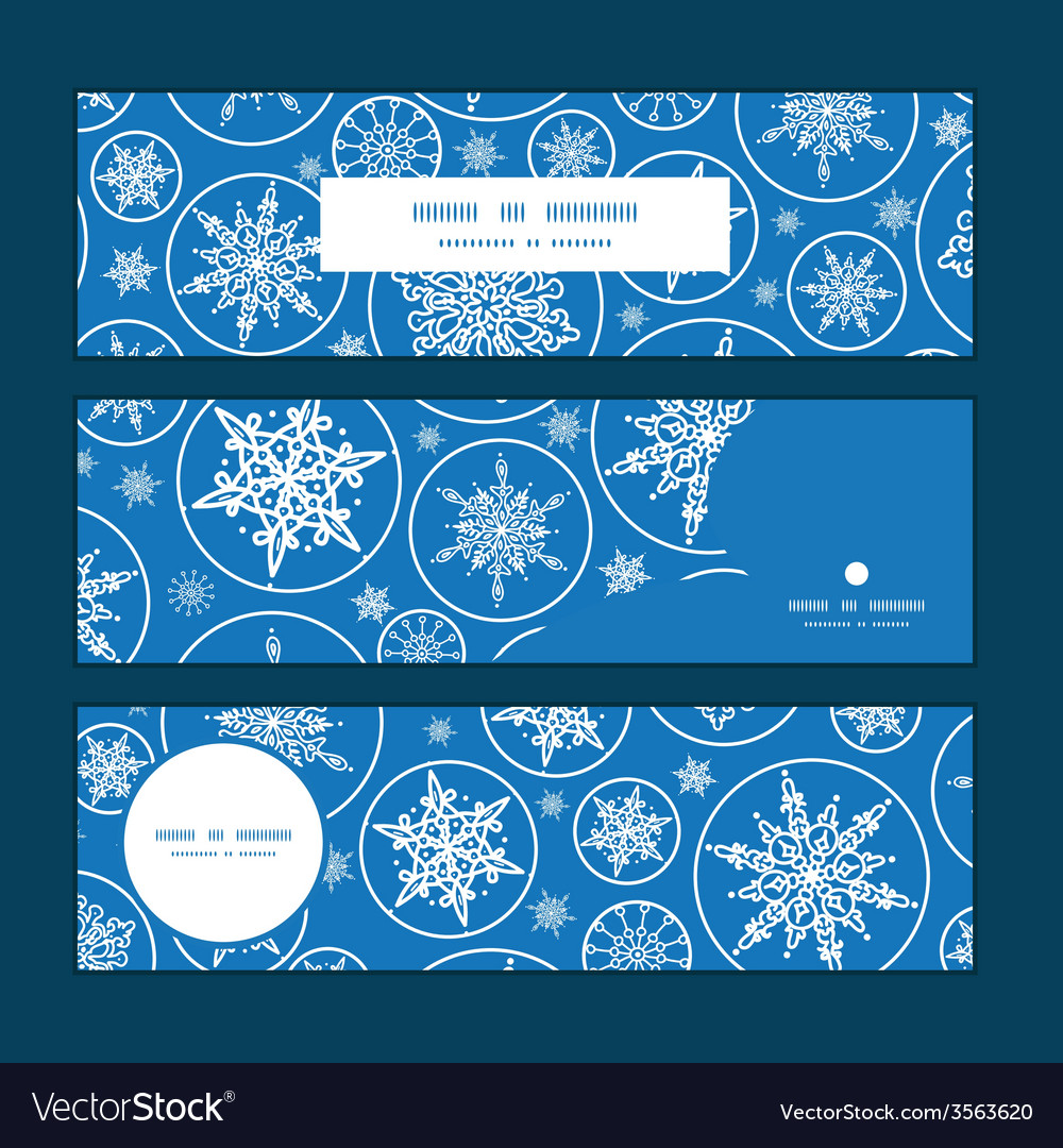Falling snowflakes horizontal banners set pattern vector | Price: 1 Credit (USD $1)