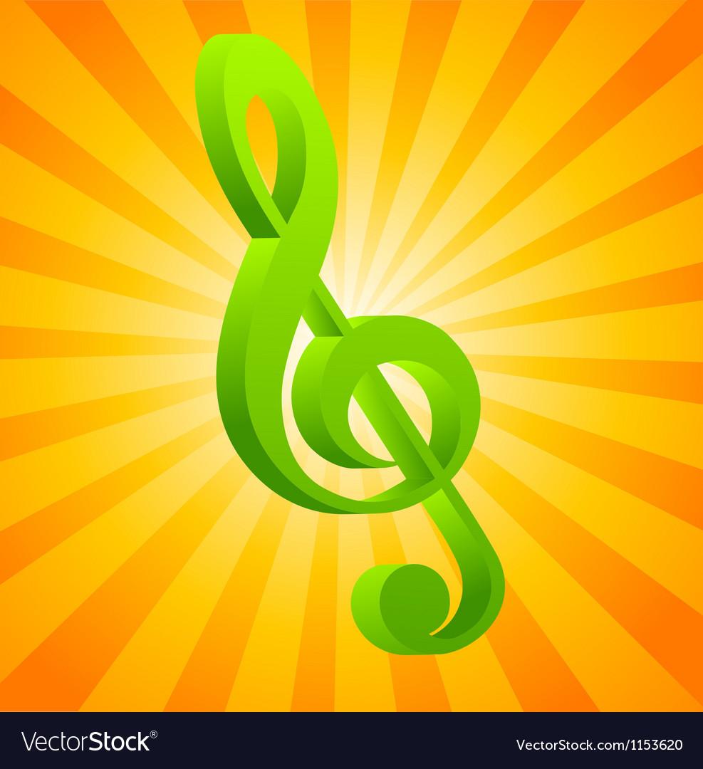 G clef on orange background vector | Price: 1 Credit (USD $1)