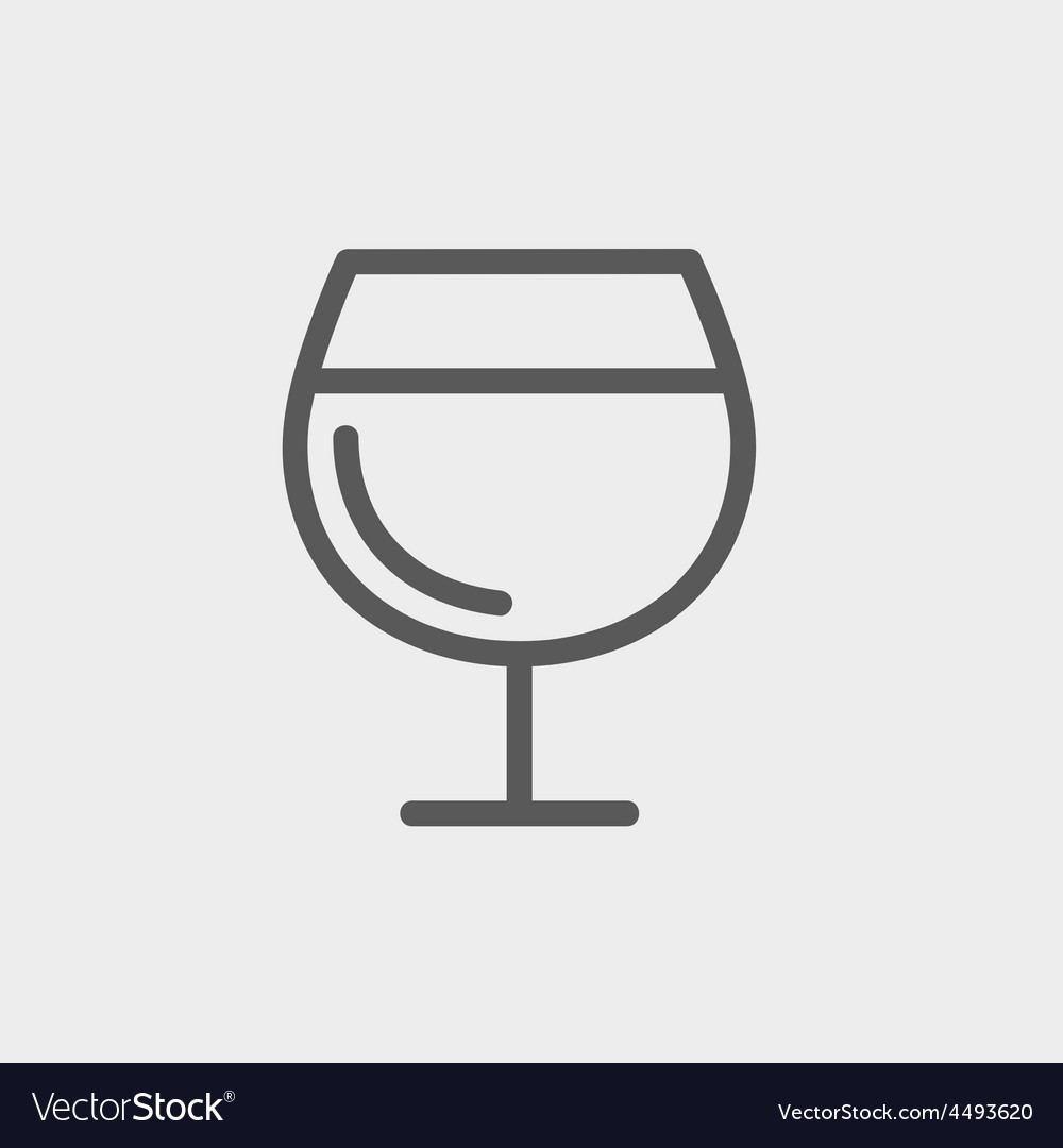 Glass of wine thin line icon vector