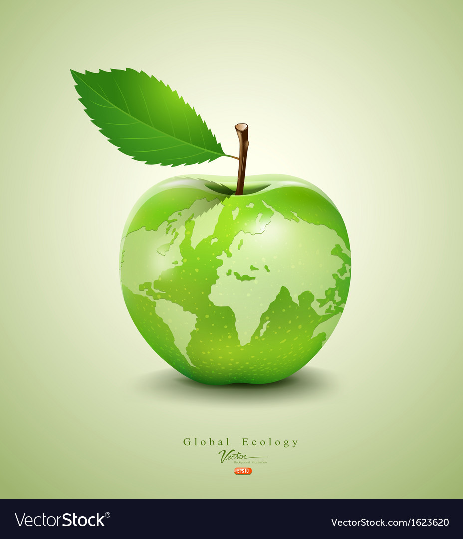 Green apple earth design vector | Price: 3 Credit (USD $3)