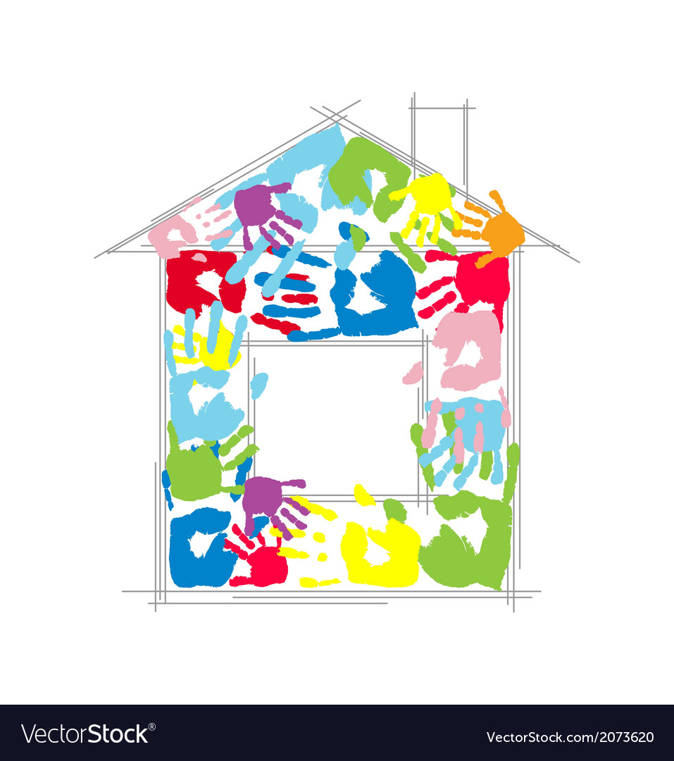 House made from childrens and parents handprints vector | Price: 1 Credit (USD $1)