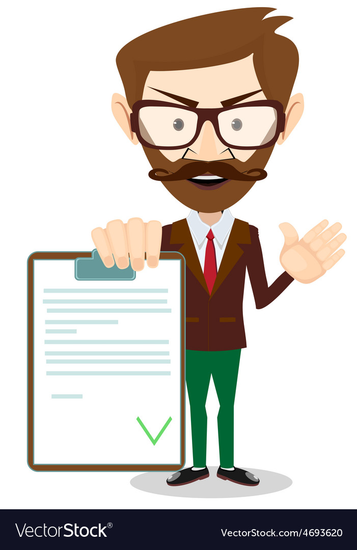 Man holding a document in which all approved vector | Price: 1 Credit (USD $1)