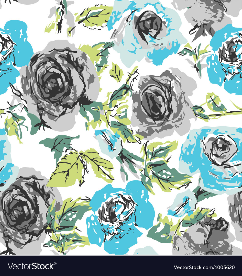 Seamless rose floral pattern vector | Price: 1 Credit (USD $1)